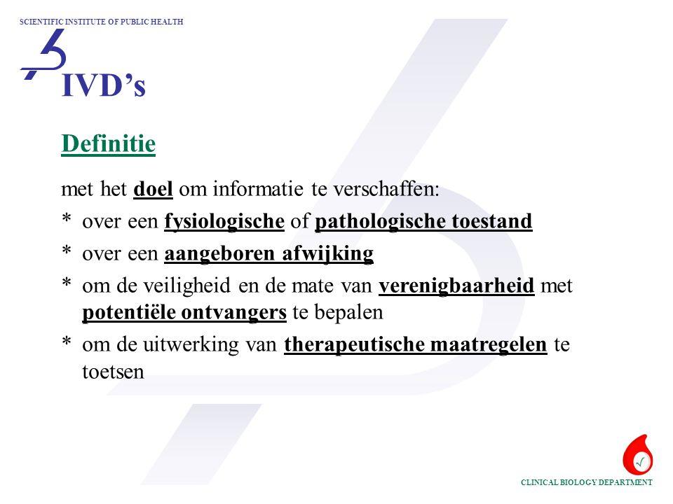 SCIENTIFIC INSTITUTE OF PUBLIC HEALTH CLINICAL BIOLOGY DEPARTMENT Definitie met het doel om informatie te verschaffen: *over een fysiologische of path