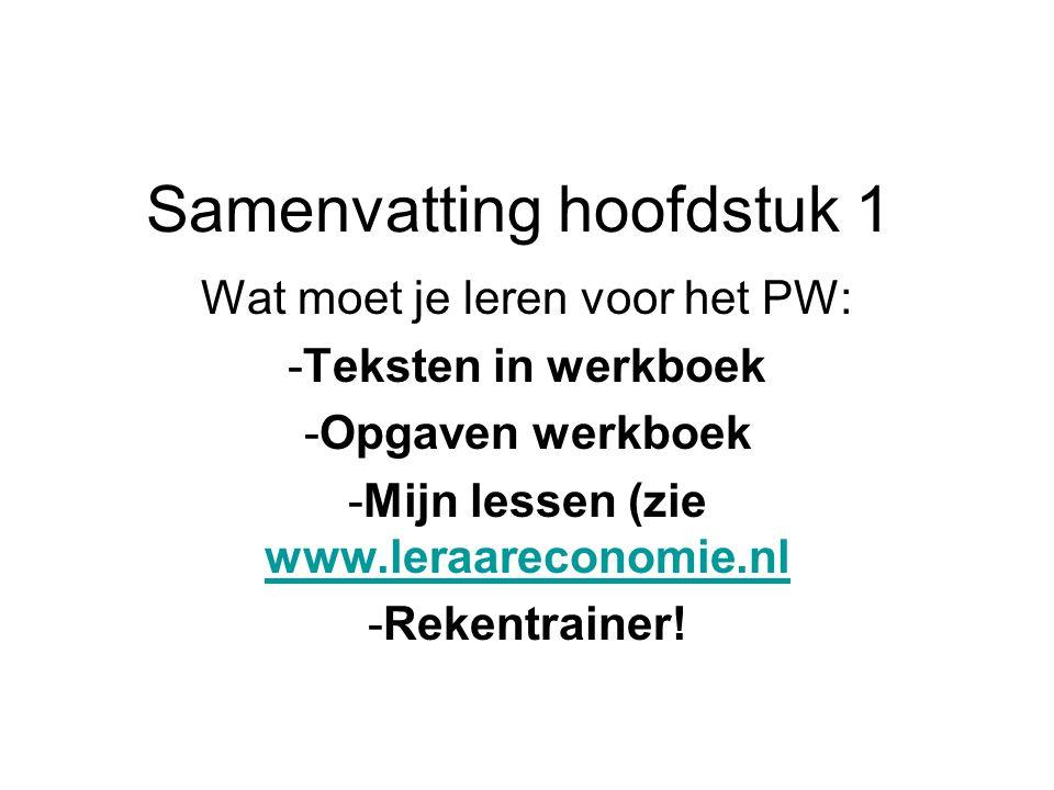 Samenvatting hoofdstuk 1 Wat moet je leren voor het PW: -Teksten in werkboek -Opgaven werkboek -Mijn lessen (zie www.leraareconomie.nl www.leraareconomie.nl -Rekentrainer!