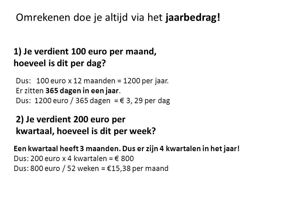 1) Je verdient 100 euro per maand, hoeveel is dit per dag.