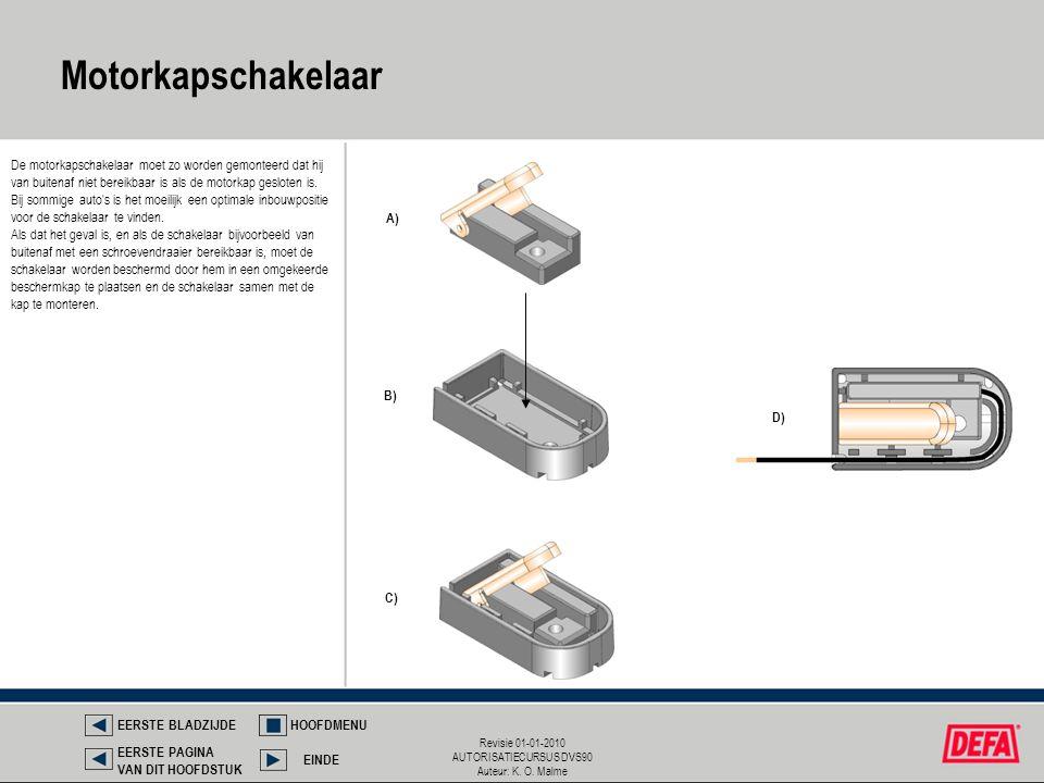 Revisie 01-01-2010 AUTORISATIECURSUS DVS90 Auteur: K. O. Malme A) B) C) D) De motorkapschakelaar moet zo worden gemonteerd dat hij van buitenaf niet b