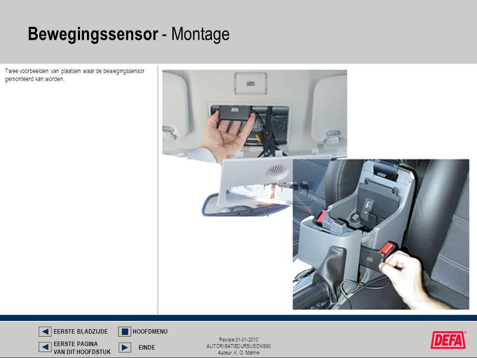 Revisie 01-01-2010 AUTORISATIECURSUS DVS90 Auteur: K. O. Malme Twee voorbeelden van plaatsen waar de bewegingssensor gemonteerd kan worden. Bewegingss