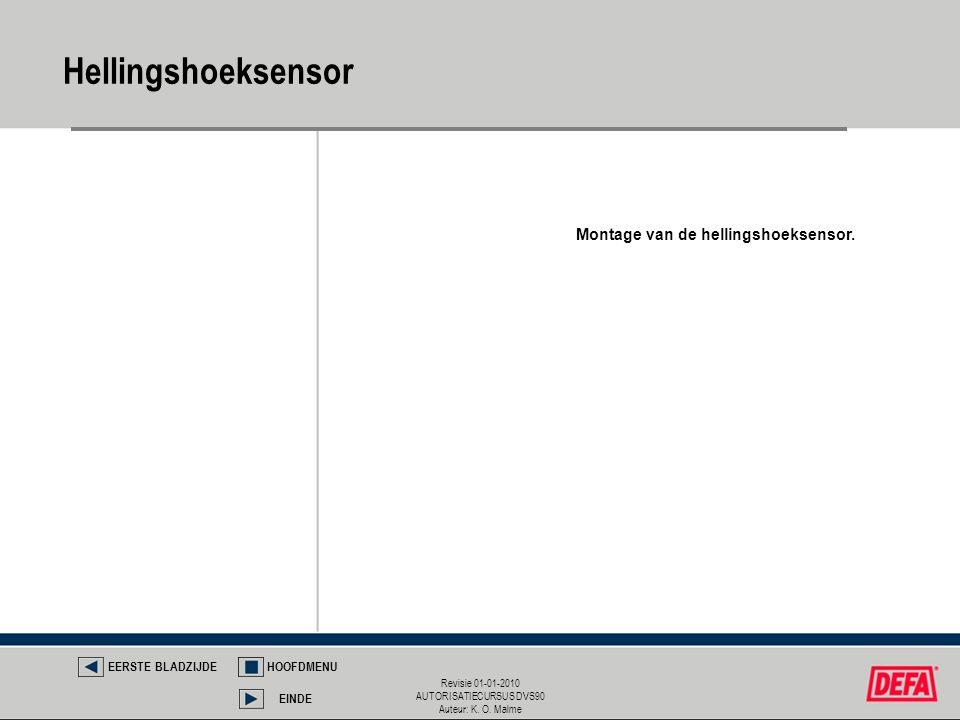 Revisie 01-01-2010 AUTORISATIECURSUS DVS90 Auteur: K. O. Malme Hellingshoeksensor EERSTE BLADZIJDEHOOFDMENU EINDE Montage van de hellingshoeksensor.
