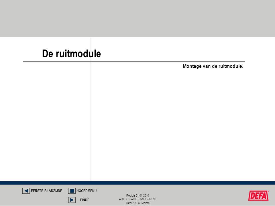Revisie 01-01-2010 AUTORISATIECURSUS DVS90 Auteur: K. O. Malme De ruitmodule EERSTE BLADZIJDEHOOFDMENU EINDE Montage van de ruitmodule.