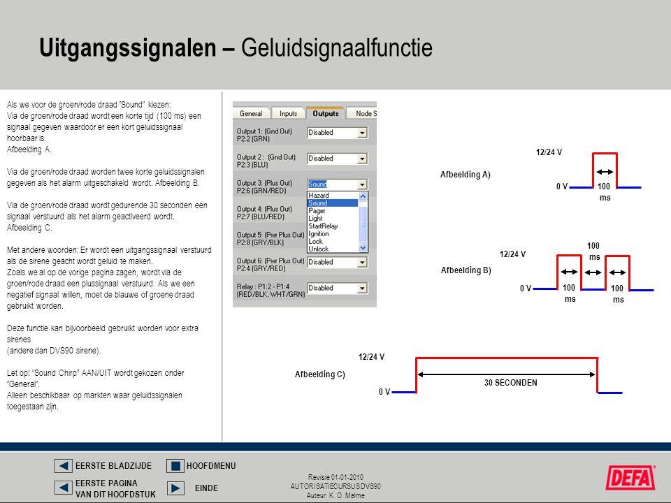"""Revisie 01-01-2010 AUTORISATIECURSUS DVS90 Auteur: K. O. Malme Als we voor de groen/rode draad """"Sound"""" kiezen: Via de groen/rode draad wordt een korte"""