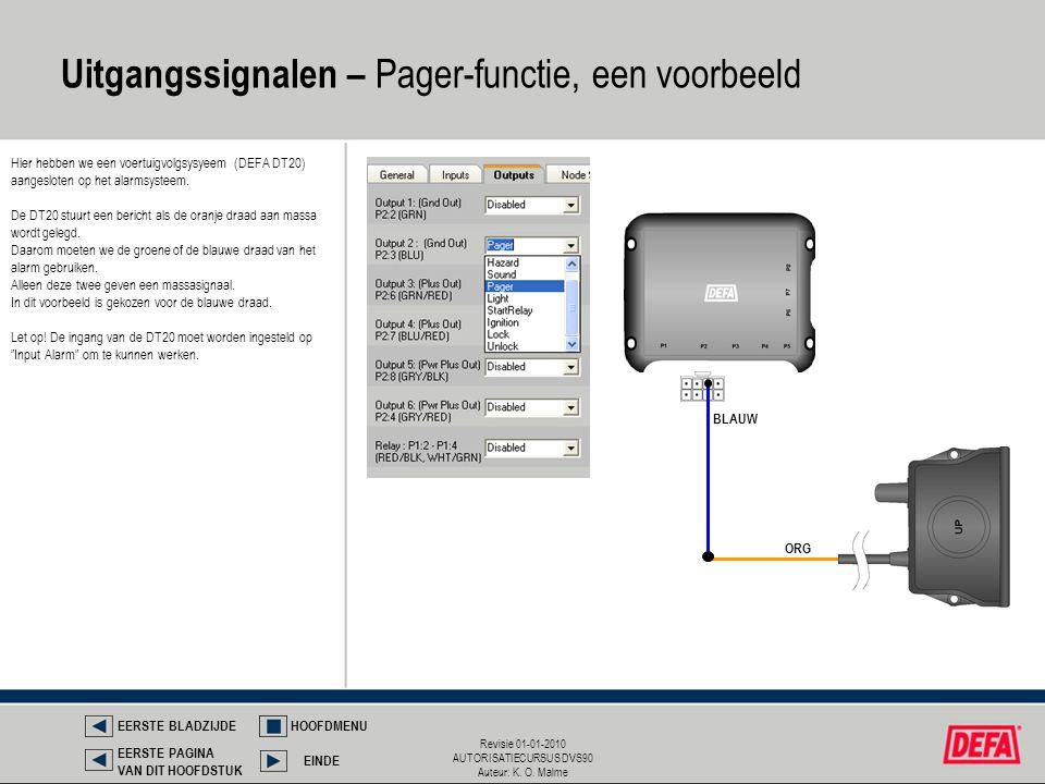 Revisie 01-01-2010 AUTORISATIECURSUS DVS90 Auteur: K. O. Malme Hier hebben we een voertuigvolgsysyeem (DEFA DT20) aangesloten op het alarmsysteem. De