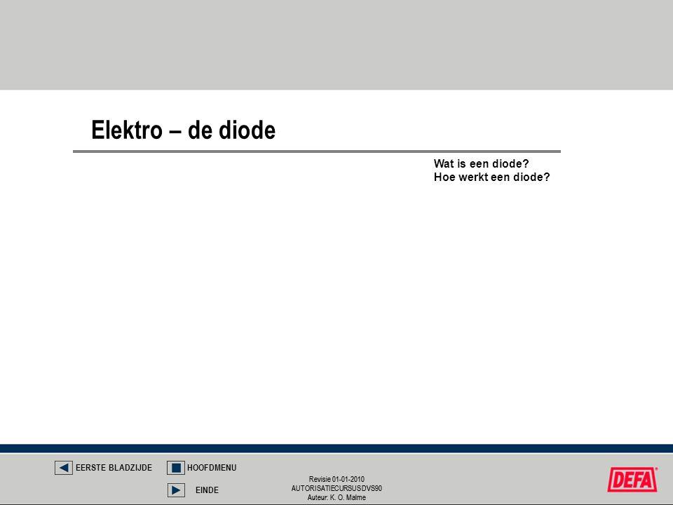 Revisie 01-01-2010 AUTORISATIECURSUS DVS90 Auteur: K. O. Malme Revisie 01-01-2010 AUTORISATIECURSUS DVS90 Auteur: K. O. Malme Elektro – de diode EERST