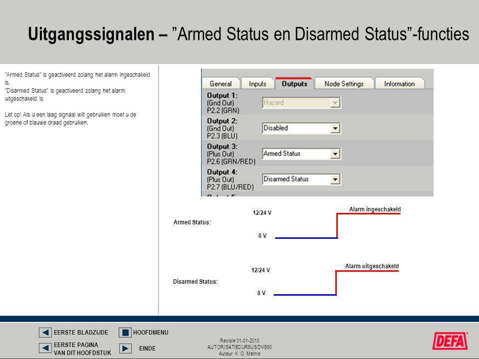 "Revisie 01-01-2010 AUTORISATIECURSUS DVS90 Auteur: K. O. Malme Uitgangssignalen – ""Armed Status en Disarmed Status""-functies Armed Status: Disarmed St"