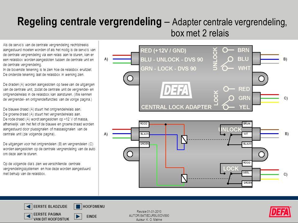 Revisie 01-01-2010 AUTORISATIECURSUS DVS90 Auteur: K. O. Malme Regeling centrale vergrendeling – Adapter centrale vergrendeling, box met 2 relais Als