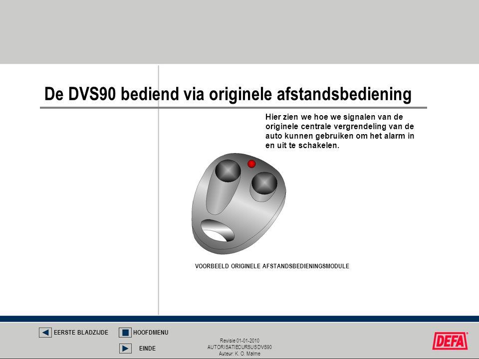 Revisie 01-01-2010 AUTORISATIECURSUS DVS90 Auteur: K. O. Malme VOORBEELD ORIGINELE AFSTANDSBEDIENINGSMODULE De DVS90 bediend via originele afstandsbed