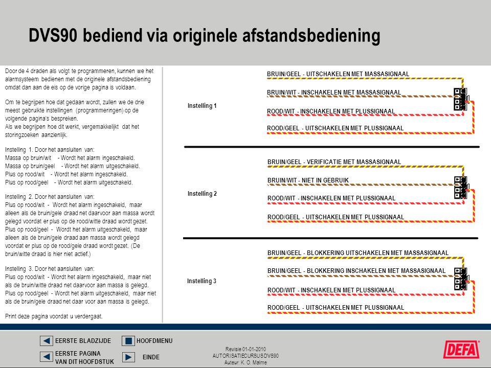 Revisie 01-01-2010 AUTORISATIECURSUS DVS90 Auteur: K. O. Malme Door de 4 draden als volgt te programmeren, kunnen we het alarmsysteem bedienen met de
