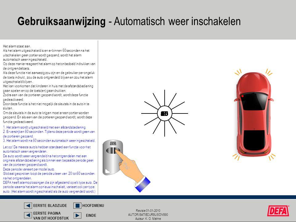 Revisie 01-01-2010 AUTORISATIECURSUS DVS90 Auteur: K. O. Malme Gebruiksaanwijzing - Automatisch weer inschakelen Het alarm staat aan. Als het alarm ui