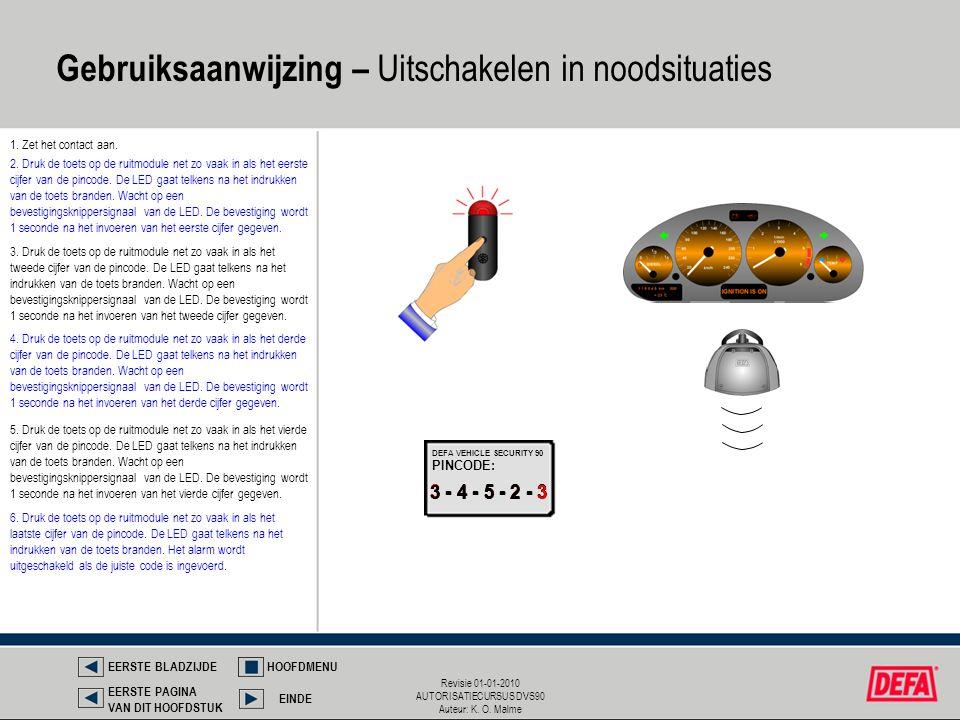 Revisie 01-01-2010 AUTORISATIECURSUS DVS90 Auteur: K. O. Malme Gebruiksaanwijzing – Uitschakelen in noodsituaties 1. Zet het contact aan. 3 - 4 - 5 -