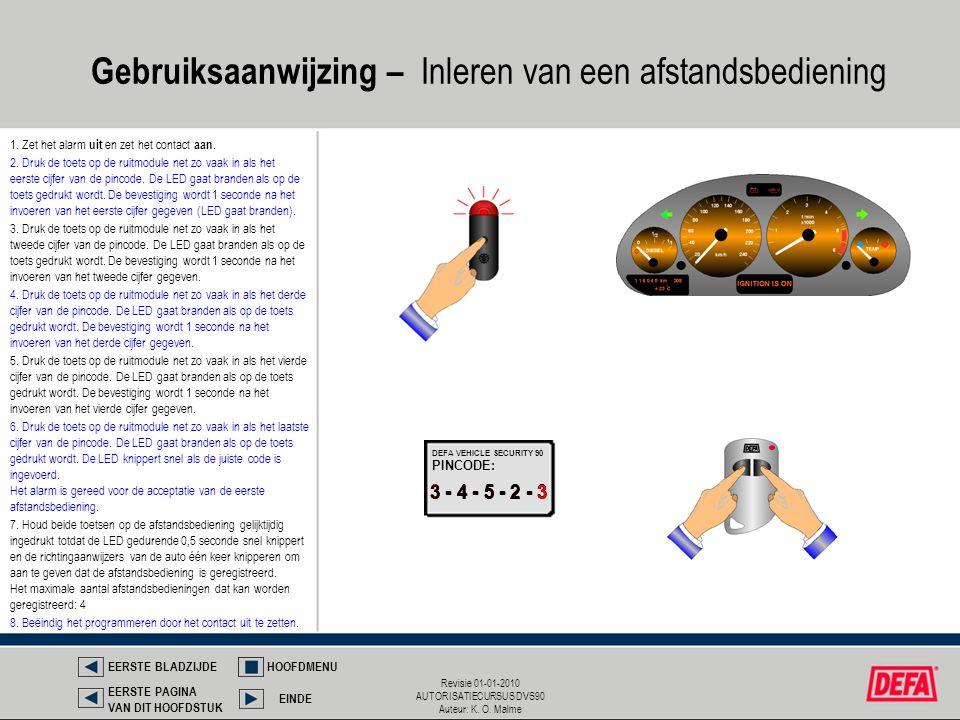 Revisie 01-01-2010 AUTORISATIECURSUS DVS90 Auteur: K. O. Malme 1. Zet het alarm uit en zet het contact aan. 3 - 4 - 5 - 2 - 3 PINCODE: DEFA VEHICLE SE