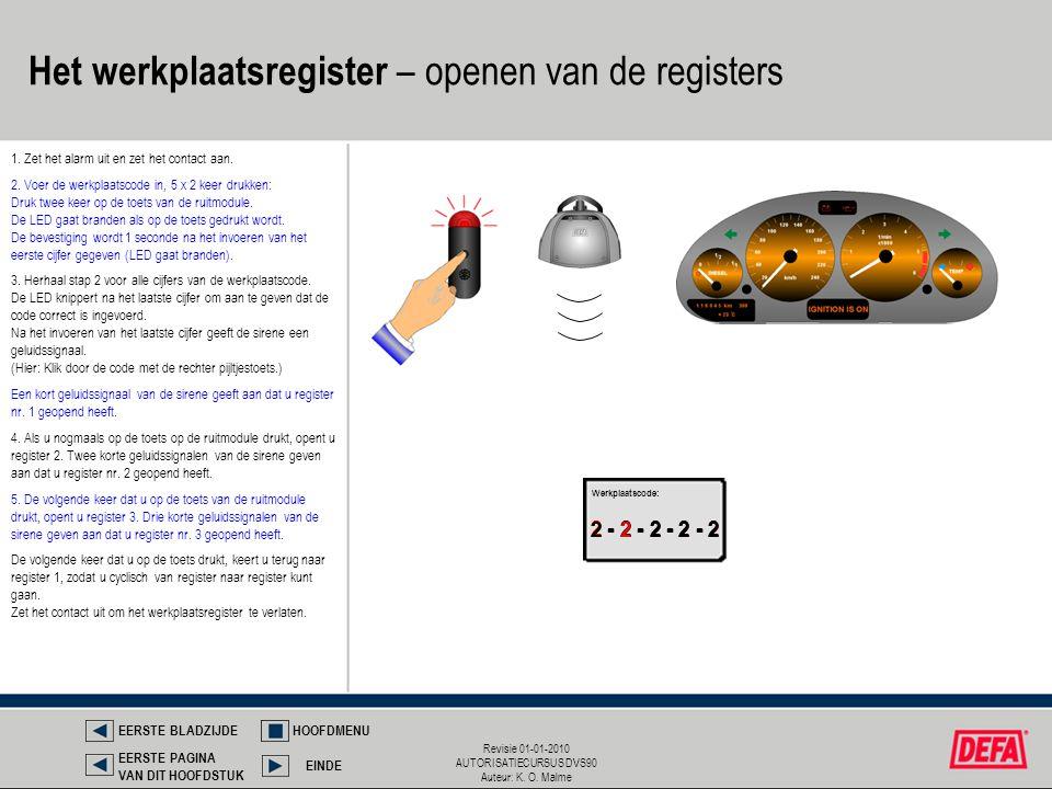 Revisie 01-01-2010 AUTORISATIECURSUS DVS90 Auteur: K. O. Malme 2 - 2 - 2 - 2 - 2 1. Zet het alarm uit en zet het contact aan. 2 - 2 - 2 - 2 - 2 Werkpl