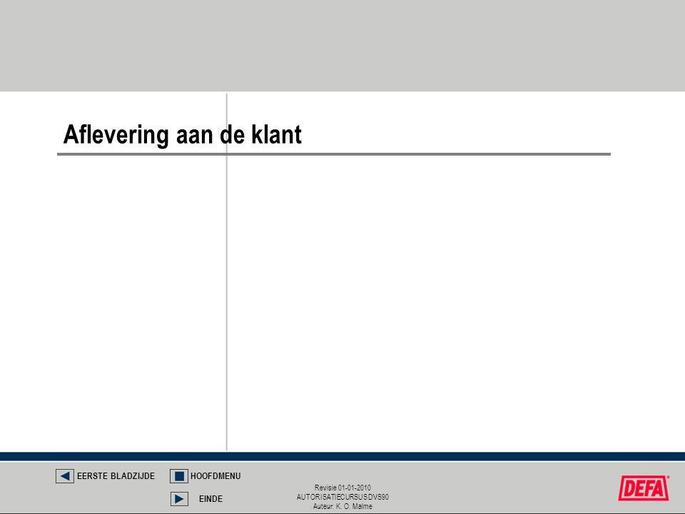 Revisie 01-01-2010 AUTORISATIECURSUS DVS90 Auteur: K. O. Malme Aflevering aan de klant EERSTE BLADZIJDEHOOFDMENU EINDE