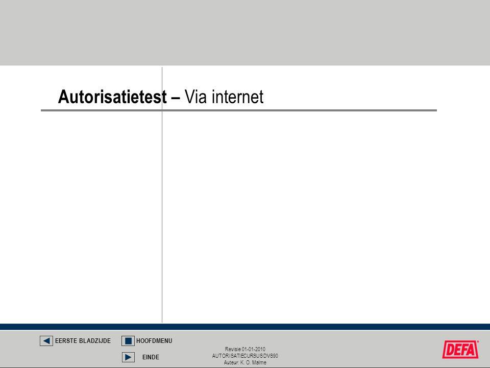 Revisie 01-01-2010 AUTORISATIECURSUS DVS90 Auteur: K. O. Malme Autorisatietest – Via internet EERSTE BLADZIJDEHOOFDMENU EINDE