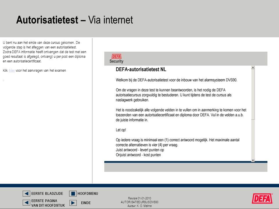 Revisie 01-01-2010 AUTORISATIECURSUS DVS90 Auteur: K. O. Malme Autorisatietest – Via internet EERSTE BLADZIJDEHOOFDMENU EINDE EERSTE PAGINA VAN DIT HO