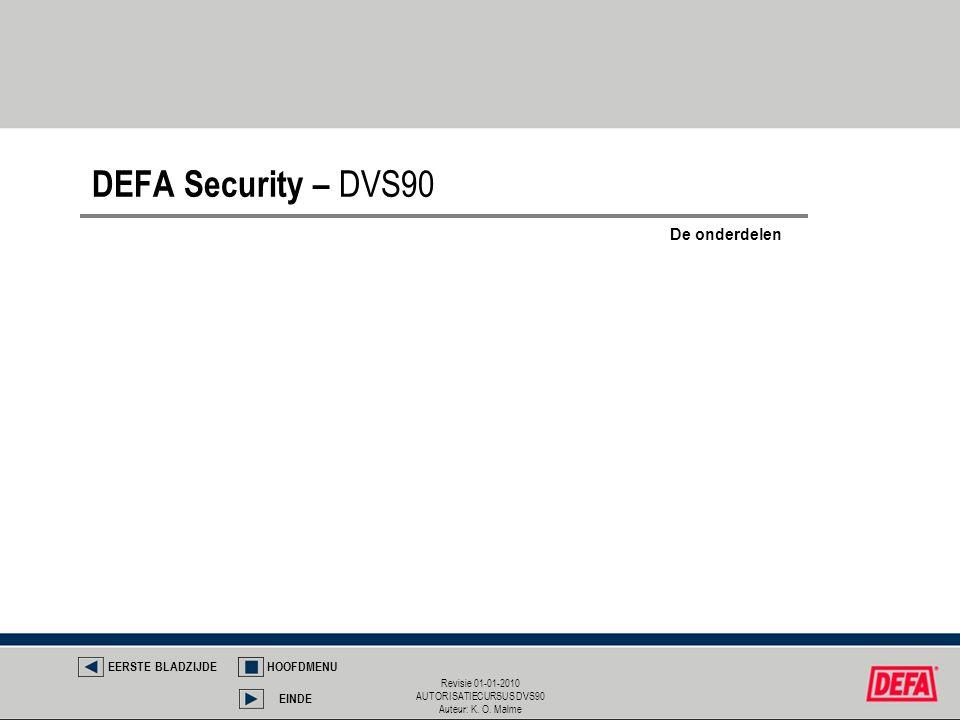 Revisie 01-01-2010 AUTORISATIECURSUS DVS90 Auteur: K. O. Malme DEFA Security – DVS90 EERSTE BLADZIJDEHOOFDMENU EINDE De onderdelen