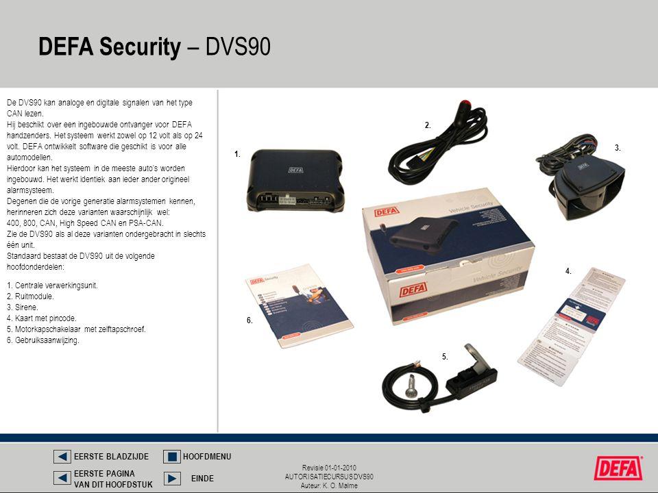 Revisie 01-01-2010 AUTORISATIECURSUS DVS90 Auteur: K. O. Malme DEFA Security – DVS90 EERSTE BLADZIJDEHOOFDMENU EINDE EERSTE PAGINA VAN DIT HOOFDSTUK 1
