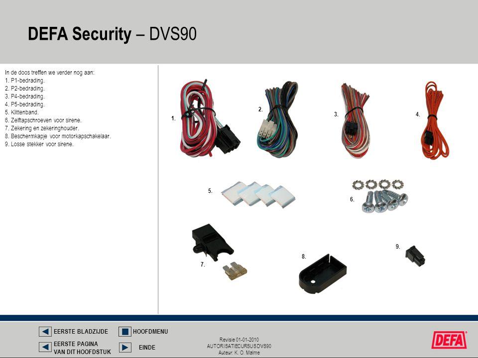 Revisie 01-01-2010 AUTORISATIECURSUS DVS90 Auteur: K. O. Malme DEFA Security – DVS90 EERSTE BLADZIJDEHOOFDMENU EINDE EERSTE PAGINA VAN DIT HOOFDSTUK I