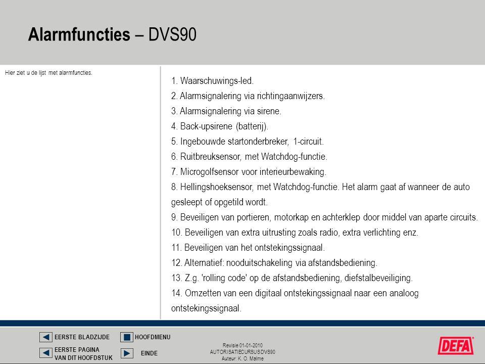 Revisie 01-01-2010 AUTORISATIECURSUS DVS90 Auteur: K. O. Malme 1. Waarschuwings-led. 2. Alarmsignalering via richtingaanwijzers. 3. Alarmsignalering v