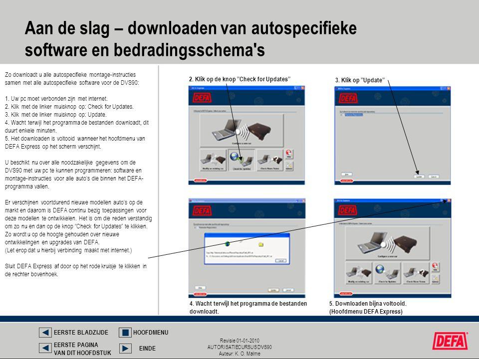 Revisie 01-01-2010 AUTORISATIECURSUS DVS90 Auteur: K. O. Malme Aan de slag – downloaden van autospecifieke software en bedradingsschema's Zo downloadt
