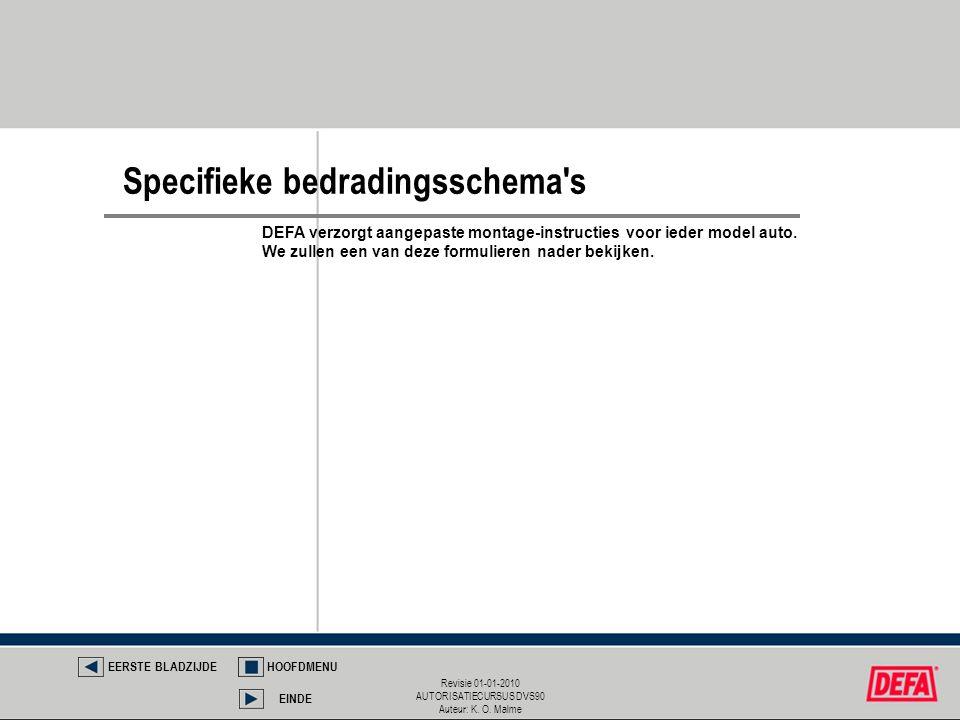 Revisie 01-01-2010 AUTORISATIECURSUS DVS90 Auteur: K. O. Malme Specifieke bedradingsschema's EERSTE BLADZIJDEHOOFDMENU EINDE DEFA verzorgt aangepaste