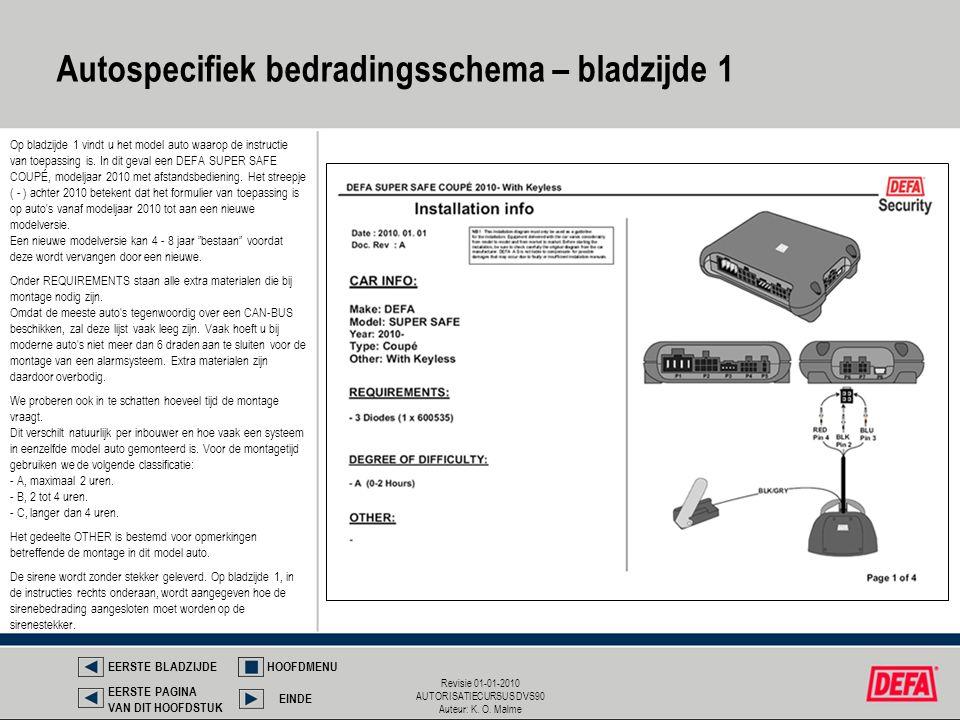Revisie 01-01-2010 AUTORISATIECURSUS DVS90 Auteur: K. O. Malme Autospecifiek bedradingsschema – bladzijde 1 EERSTE BLADZIJDEHOOFDMENU EINDE EERSTE PAG