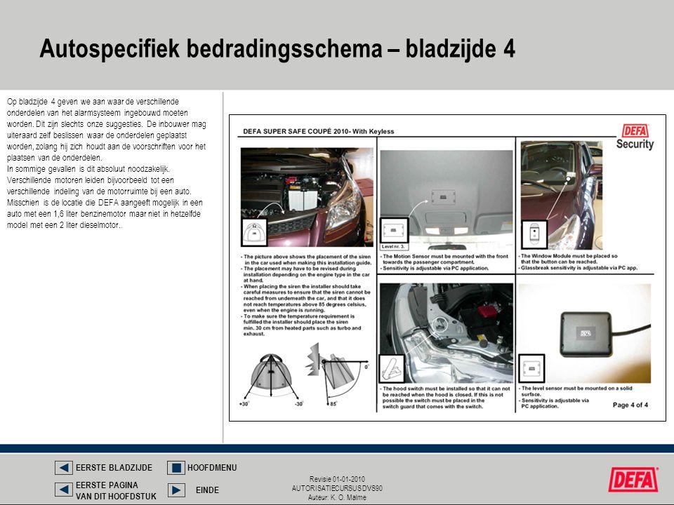 Revisie 01-01-2010 AUTORISATIECURSUS DVS90 Auteur: K. O. Malme Autospecifiek bedradingsschema – bladzijde 4 EERSTE BLADZIJDEHOOFDMENU EINDE EERSTE PAG