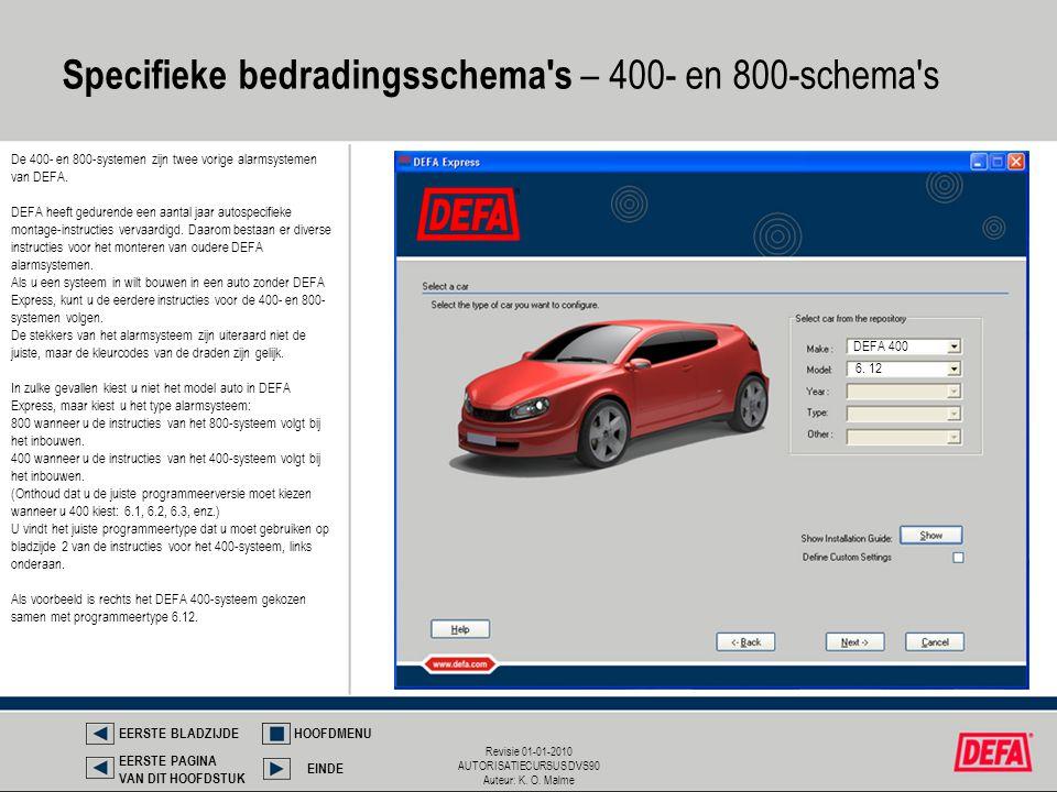 Revisie 01-01-2010 AUTORISATIECURSUS DVS90 Auteur: K. O. Malme Specifieke bedradingsschema's – 400- en 800-schema's EERSTE BLADZIJDEHOOFDMENU EINDE EE