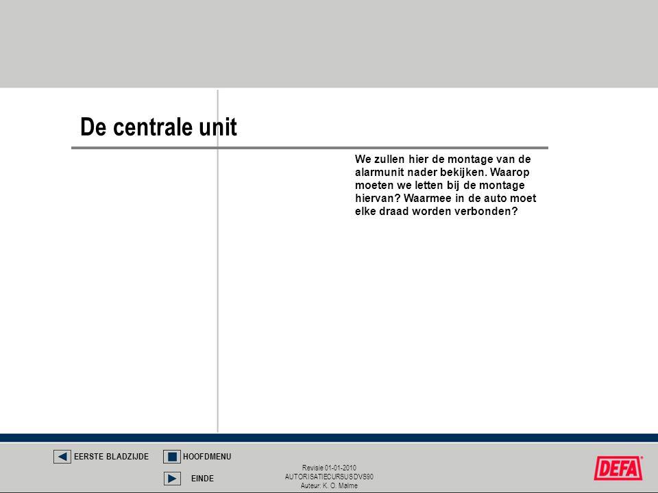 Revisie 01-01-2010 AUTORISATIECURSUS DVS90 Auteur: K. O. Malme De centrale unit EERSTE BLADZIJDEHOOFDMENU EINDE We zullen hier de montage van de alarm