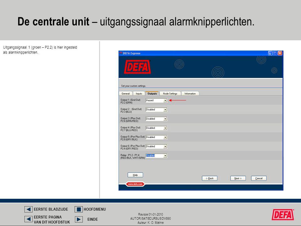 Revisie 01-01-2010 AUTORISATIECURSUS DVS90 Auteur: K. O. Malme De centrale unit – uitgangssignaal alarmknipperlichten. EERSTE BLADZIJDEHOOFDMENU EINDE