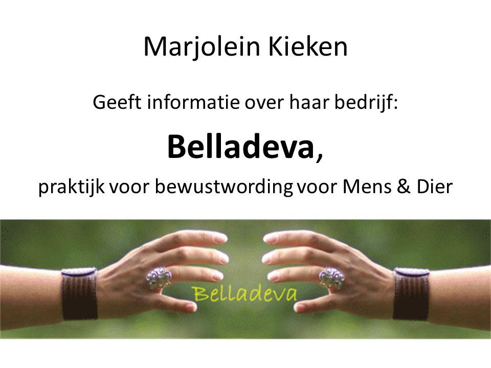 Marjolein Kieken Geeft informatie over haar bedrijf: Belladeva, praktijk voor bewustwording voor Mens & Dier