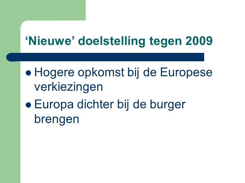 'Nieuwe' doelstelling tegen 2009 Hogere opkomst bij de Europese verkiezingen Europa dichter bij de burger brengen