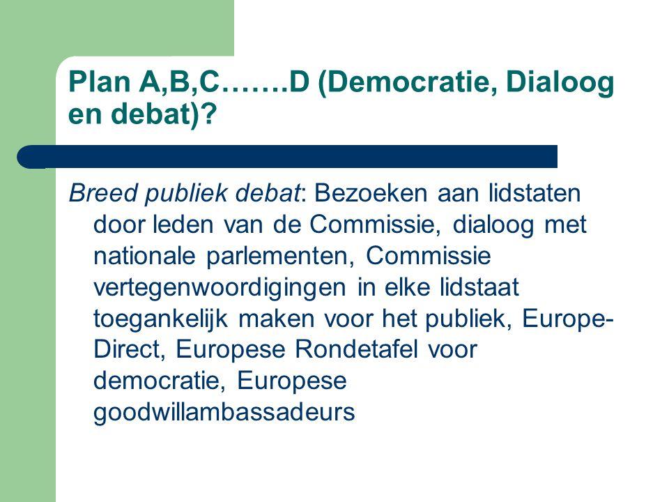 Plan A,B,C…….D (Democratie, Dialoog en debat).
