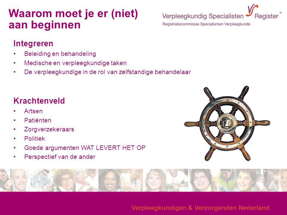 Verpleegkundigen & Verzorgenden Nederland Integreren Beleiding en behandeling Medische en verpleegkundige taken De verpleegkundige in de rol van zelfs