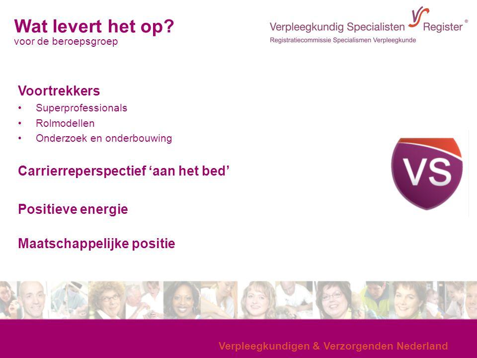 Verpleegkundigen & Verzorgenden Nederland Wat levert het op? voor de beroepsgroep Voortrekkers Superprofessionals Rolmodellen Onderzoek en onderbouwin