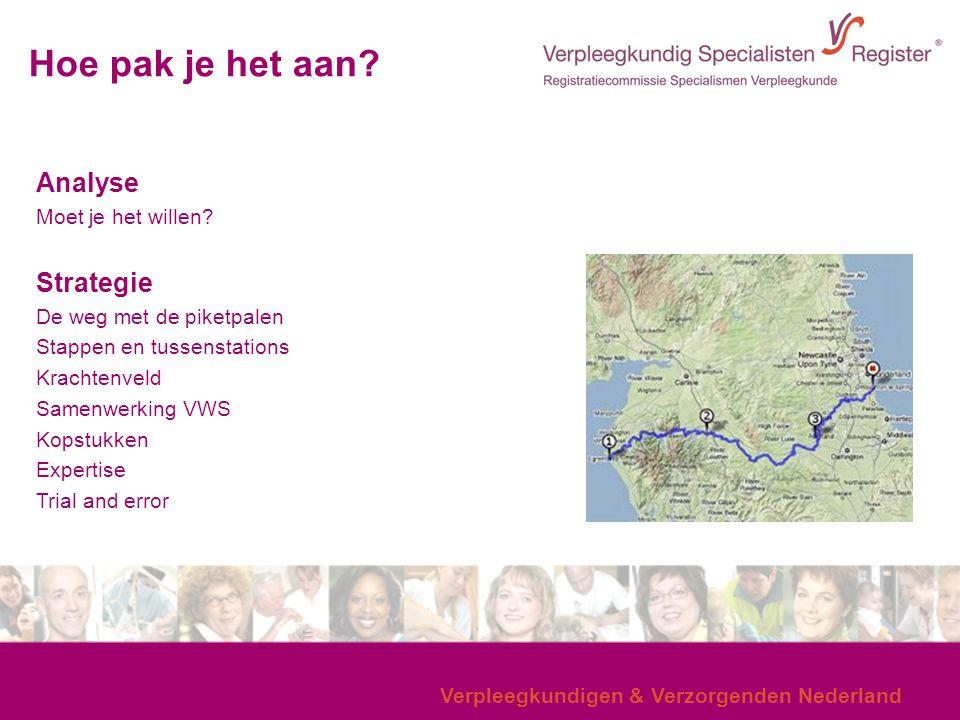 Verpleegkundigen & Verzorgenden Nederland Hoe pak je het aan? Analyse Moet je het willen? Strategie De weg met de piketpalen Stappen en tussenstations