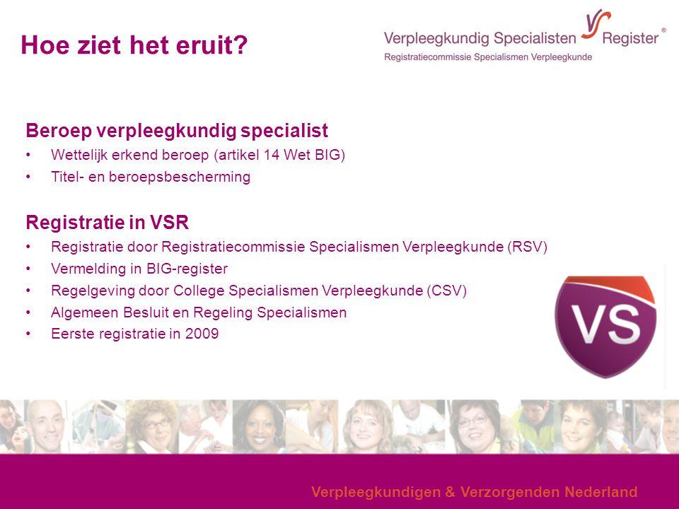 Verpleegkundigen & Verzorgenden Nederland Hoe ziet het eruit? Beroep verpleegkundig specialist Wettelijk erkend beroep (artikel 14 Wet BIG) Titel- en