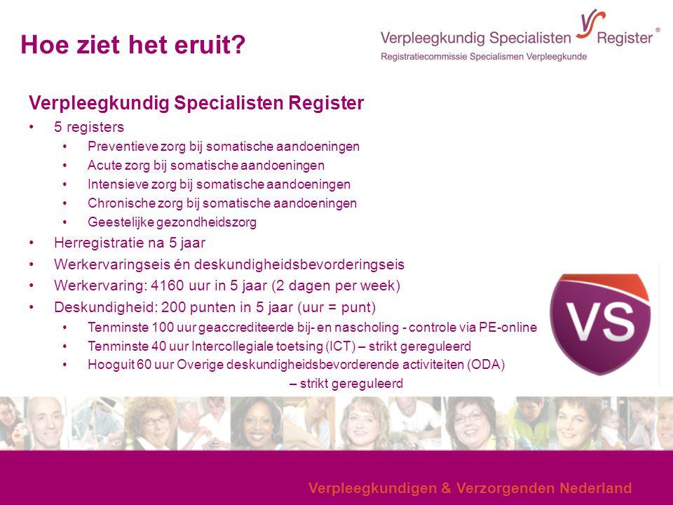 Verpleegkundigen & Verzorgenden Nederland Hoe ziet het eruit? Verpleegkundig Specialisten Register 5 registers Preventieve zorg bij somatische aandoen