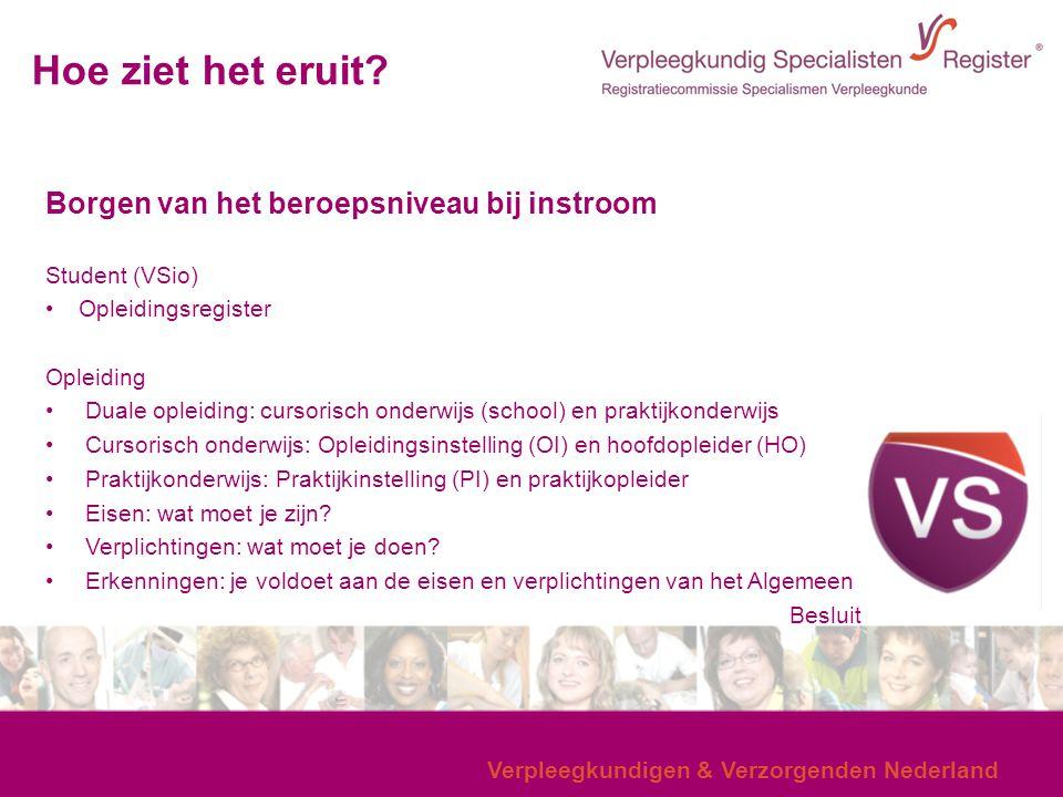 Verpleegkundigen & Verzorgenden Nederland Hoe ziet het eruit? Borgen van het beroepsniveau bij instroom Student (VSio) Opleidingsregister Opleiding Du