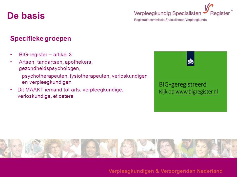 Verpleegkundigen & Verzorgenden Nederland Specifieke groepen BIG-register – artikel 3 Artsen, tandartsen, apothekers, gezondheidspsychologen, psychoth
