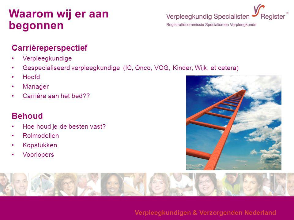 Verpleegkundigen & Verzorgenden Nederland Carrièreperspectief Verpleegkundige Gespecialiseerd verpleegkundige (IC, Onco, VOG, Kinder, Wijk, et cetera)