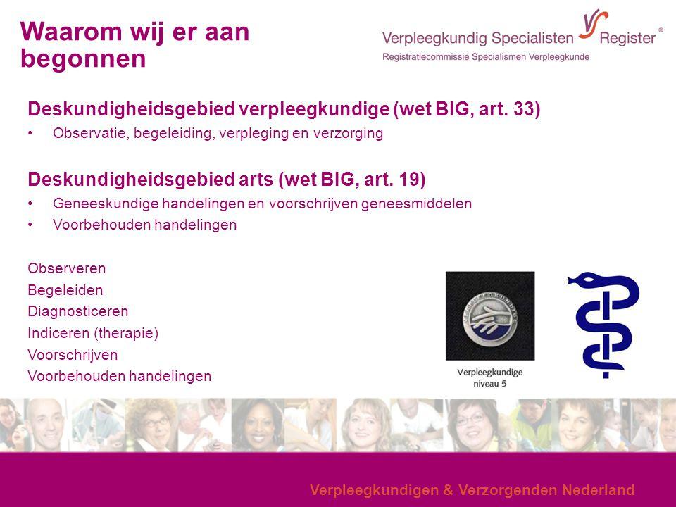 Verpleegkundigen & Verzorgenden Nederland Deskundigheidsgebied verpleegkundige (wet BIG, art. 33) Observatie, begeleiding, verpleging en verzorging De