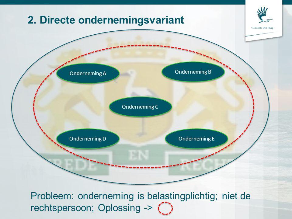 2. Directe ondernemingsvariant Onderneming A Onderneming E Onderneming C Onderneming D Onderneming B Probleem: onderneming is belastingplichtig; niet