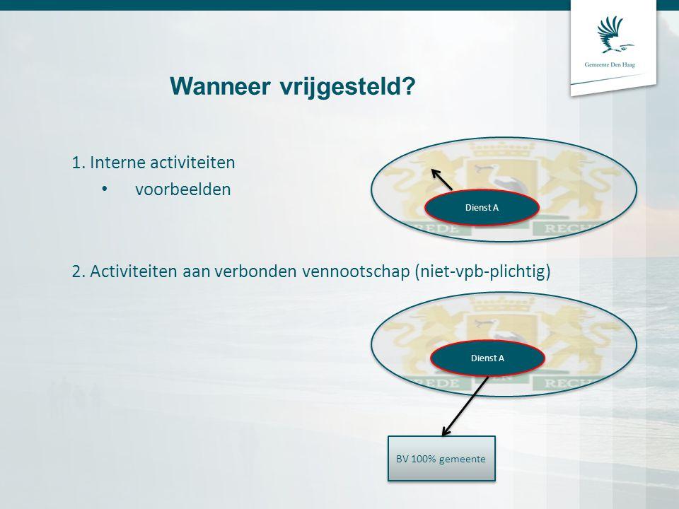 Wanneer vrijgesteld? 1. Interne activiteiten voorbeelden 2. Activiteiten aan verbonden vennootschap (niet-vpb-plichtig) Dienst A BV 100% gemeente Dien