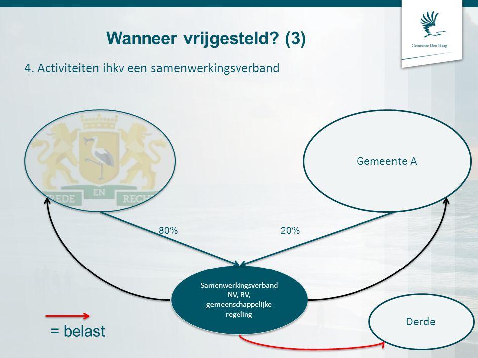 4. Activiteiten ihkv een samenwerkingsverband Wanneer vrijgesteld? (3) Samenwerkingsverband NV, BV, gemeenschappelijke regeling Samenwerkingsverband N