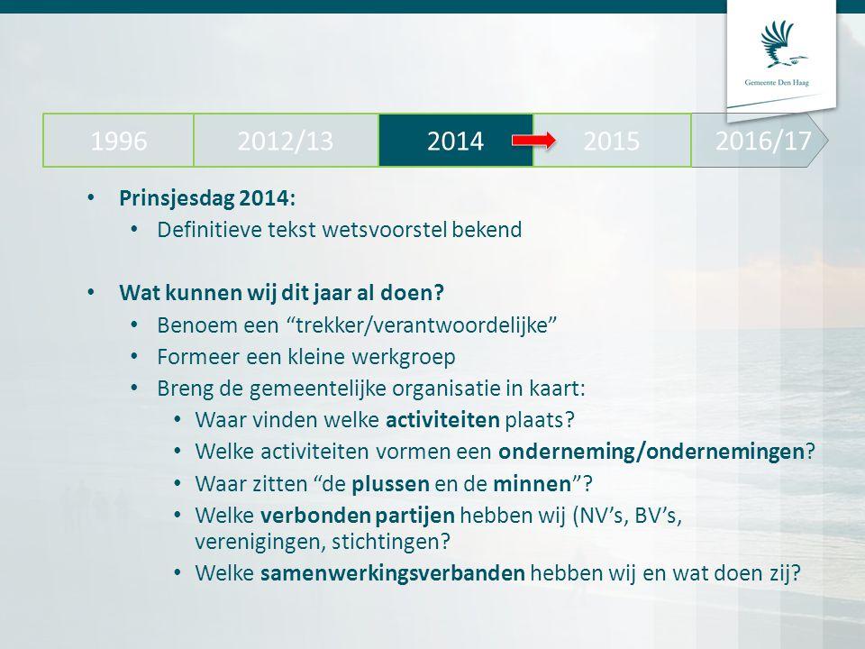"""2016/17 2012/13 20142015 1996 Prinsjesdag 2014: Definitieve tekst wetsvoorstel bekend Wat kunnen wij dit jaar al doen? Benoem een """"trekker/verantwoord"""