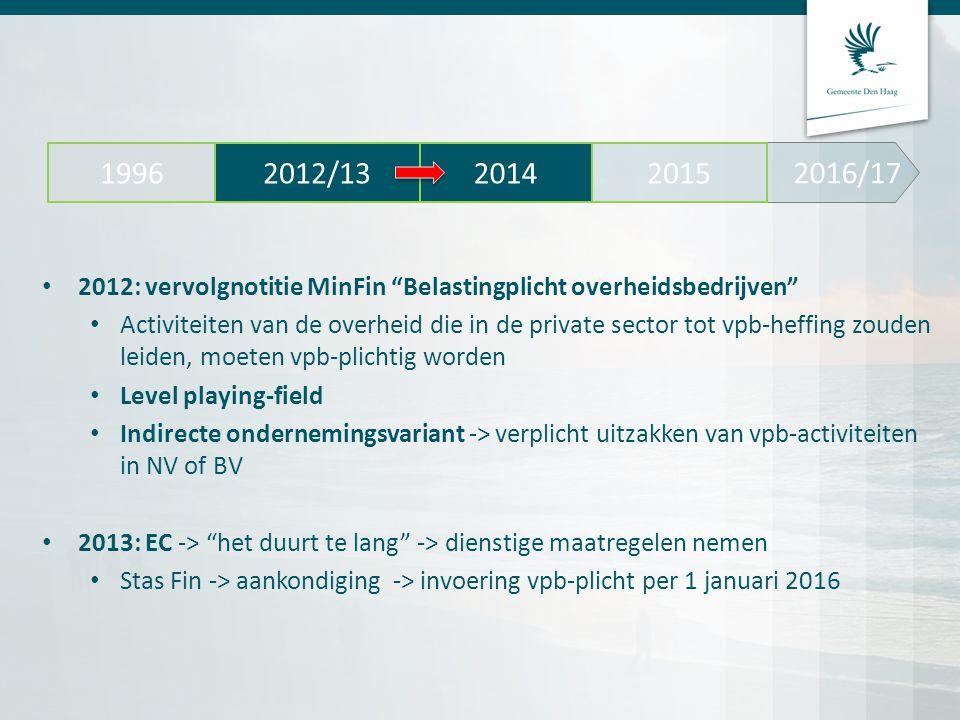 """2012: vervolgnotitie MinFin """"Belastingplicht overheidsbedrijven"""" Activiteiten van de overheid die in de private sector tot vpb-heffing zouden leiden,"""