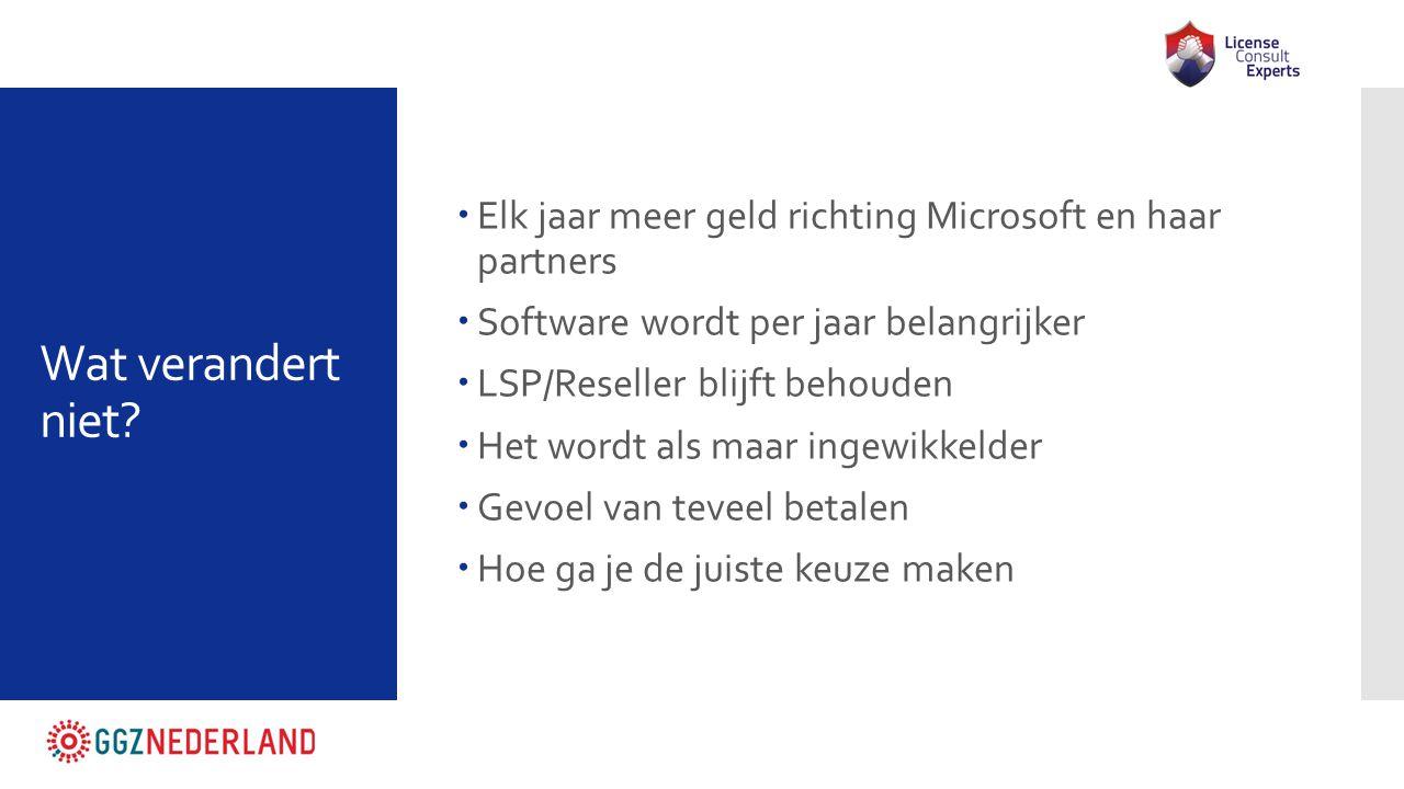 Wat verandert niet?  Elk jaar meer geld richting Microsoft en haar partners  Software wordt per jaar belangrijker  LSP/Reseller blijft behouden  H